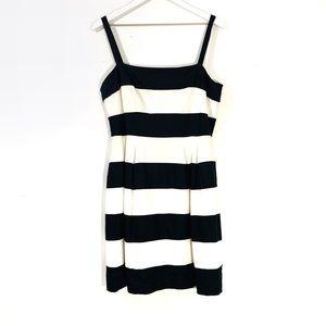 LOFT Black & White Striped Linen Blend Dress
